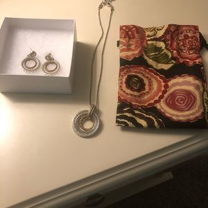 Brighton Two Tone Earrings and Necklace Set
